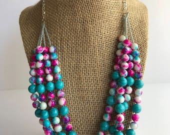 Four Strand Beaded Necklace, Pink and Blue Beaded Necklace, Pink and Blue Splatter Bead Necklace