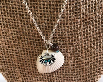 Crab and Shell Necklace, Shell Necklace, Crab Necklace