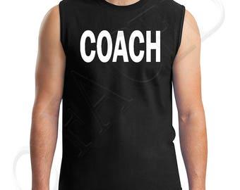 COACH Adults Muscle Tee Coach Teacher Men's Sleeveless T-Shirt Trainer Instructor's  - 1629C_GMMT