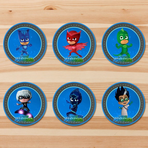 PJ Masks Birthday Cupcake Toppers - Green Chalkboard - Boy PJ Masks Stickers - PJ Masks Birthday Boy Party - Pj Masks Party Printables 2 in