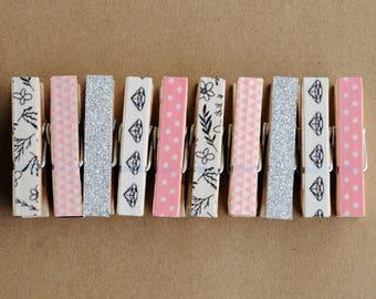 Pink washi clothespins set, pink black white, silver glitter washi, diamond washi, pink polkadots, wooden clothespins, small clothespins