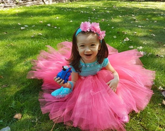 pink tutu dress+headband,blue tutu dress, crochet dress,toddler dress,birthday dress,flower girl dress, bridesmaid dress,baptism dress