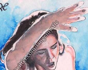 ACEO Peinture Painting Carte Original Sketch Card Face Woman Fall Femme 1/1 PSC