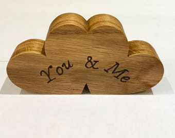 Wooden love hearts, You & Me, Valentine's Day, 5th wedding anniversary, birthday gift, wooden gifts. Wooden heart.