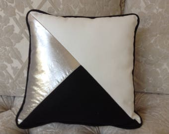 Gold,black and off white triangles with black piping