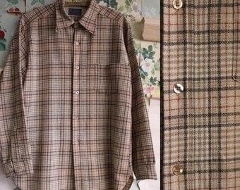 Vintage 1960 1970s Pendleton Virgin Wool Tan Plaid Virgin Wool Flannel Shirt. Large. Tan/Red.