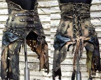 The Banshee SceneSick Post Apocalyptic Stage Wear Wardrobe Gothic Club Wear Corset Custom Heavy Metal Dance Fantasy Skirt