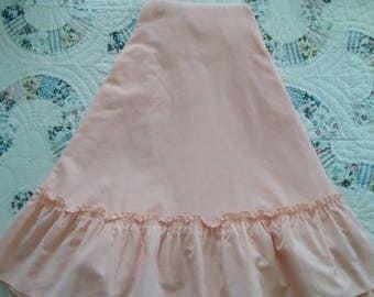Vintage, Peach, Round, Ruffled, Table Cloth