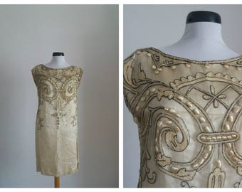 Vintage 1920s dress |  20s silk dress | 1920s embroidered cream silk  dress | black glass beaded