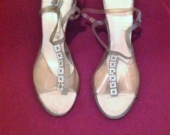 1950s Lucite Ladies Shoes with Rhinestone detail at front / Make - Michele Fifth Ave - USA