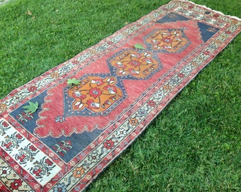 Turkish Rug, Hallway Rug, Kilim Rug, Vintage Rug, Runner Rug Handmade Rug, Anatolian Rug, Decorative Rug//287 cm x 104 cm = 9,3 ft x 3,4 ft