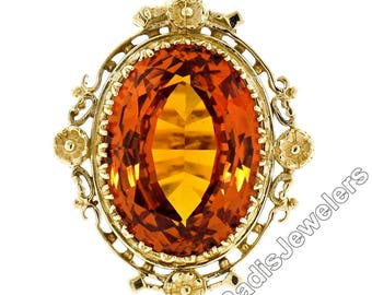 Vintage 14K Yellow Gold 12.0ct Large Oval Cut Orange Citrine Solitaire Ring w/ Floral Halo