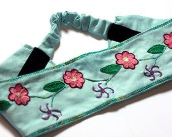 Women's Boho Headband, Embroidered Floral Headband, Flower Headband, Yoga Head Tie, Fair Trade Headband, Flower Headband / Made in NC
