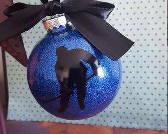 Personalized Hockey Player Christmas Ornament ~ End of Season Hockey Gift ~ Hockey Trophy  ~ With Name and Year ~ Ornament with Glitter