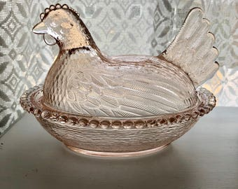 Pink Glass Hen on Nest Covered Dish