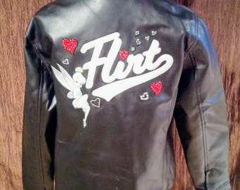 Tinkerbell Flirt black faux leather jacket, girls size large free shipping