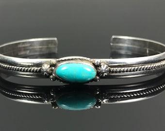 Vintage Turquoise Sterling Cuff Bracelet Vintage Signed