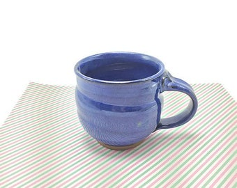 blue pottery mug, ceramic mug, blue glaze, coffee mug, tea cup, pottery mug, stoneware mug, handmade mug, wheel thrown pottery mug