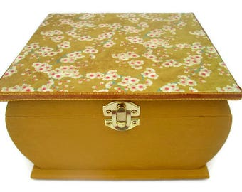 Floral Wooden Box, Decorated Wooden Box, Mustard Wooden Box, Hand Painted Wooden Box, Trinket Box, Jewelry Box, Dressing Table Box