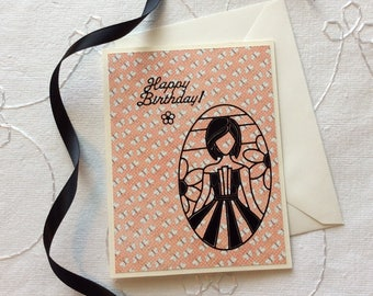 "Birthday Cards with Envelopes, Set of 3, ""Pretty Girls"" Design"