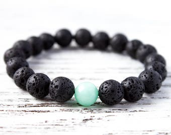 Black Mint Green Bracelet Black Lava Rock Bracelet Minimalist Boyfriend Bracelet Brother Bracelet Friendship Mint Bracelet Couples Bracelet