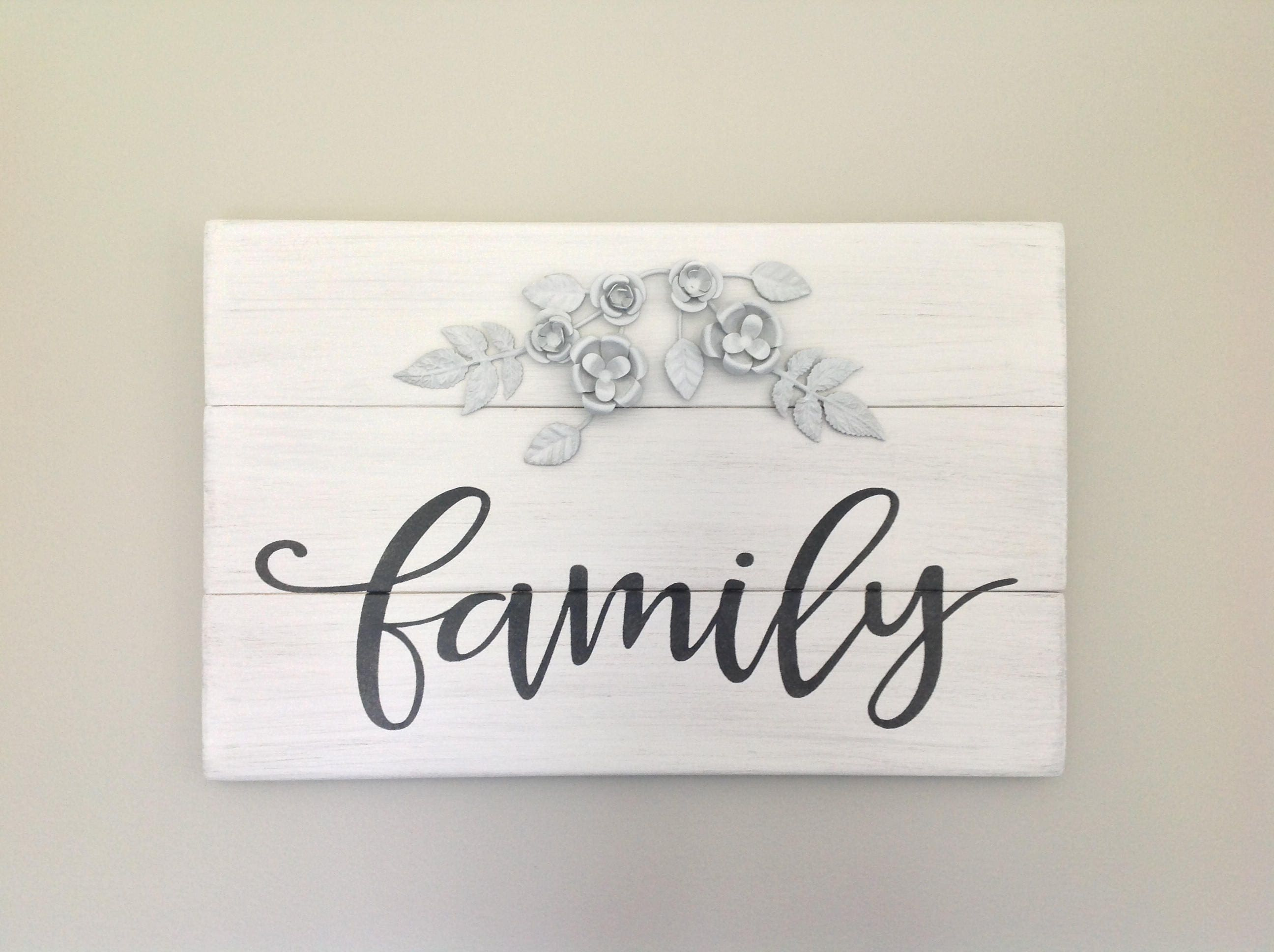 Family Sign Flower Sign Rustic Family Distressed Sign
