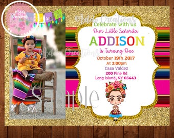 Frida Kahlo Invitation, Frida Invitations, Invitaciones Frida Kahlo, Invitaciones Frida, Frida Picture Invitation, Landscape