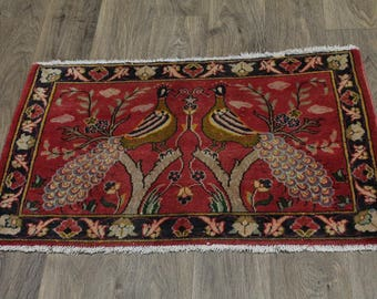 Lovely Pictorial Vintage Small Rare Kashan Persian Rug Oriental Area Carpet 2X3