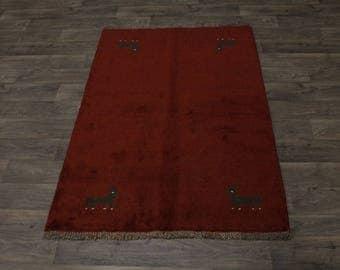Tribal Handmade Red Plush Gabbeh Modern Persian Rug Oriental Area Carpet 4X6