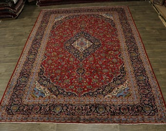 Beautiful Traditional Handmade Red Kashan Persian Rug Oriental Area Carpet 10X14