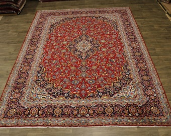 Lovely Hand Knotted Traditional Kashan Persian Rug Oriental Area Carpet 10X13
