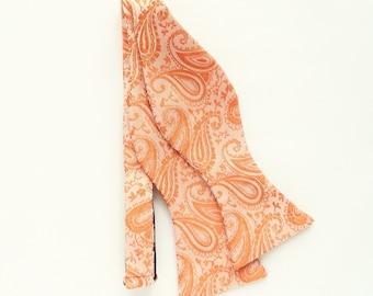 Orange paisley floral self-tie bow tie Wedding orange floral bow tie gift for men groomsmen uk