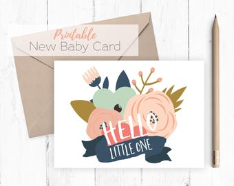 Baby Card Printable instant download baby shower new baby greeting card blank inside printable card navy pink coral mint