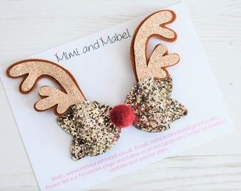 Reindeer headband, reindeer hair bow, Rudolph hair bow, reindeer hairclip, reindeer hair clip, girls christmas bow, holiday hair accessories
