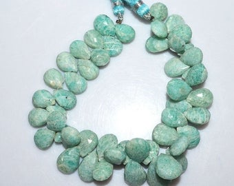 50% OFF 1 Strand Amazonite Faceted Pear Shape Beads - Amazonite Briolette , 11x7.5 - 17x11.5 mm , 8 Inch Strand , BL1764