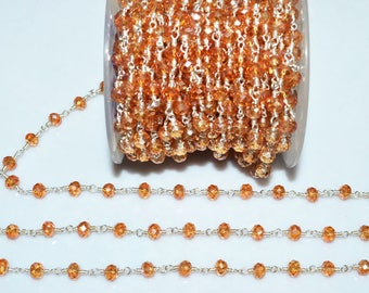 Brand New Mystic Coral Peach Hydro Quartz Glass Rosary Bead Chain - Faceted Wire Wrapped Chain,Sold By Foot, 5.50-6 mm - RB5685