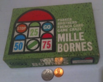 Vintage 1962 Game, Mille Bornes, Parker Brothers French Card Game Craze, Edmnd Dujardin, Old Time Fun Game