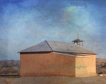 Old Adobe Church , Southwest Art, 8 x 10 Matted Photograph, Digital Art