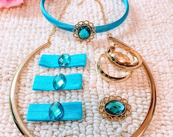 Princess Jasmine's costume set of hair band, necklace, earrings Brooch and 3 Bands