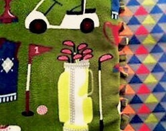 ITs Tee Off Time! Handmade Fleece blanket designed by JAX. A Golf Course themed throw that comes in 2 size options make your perfect gift!