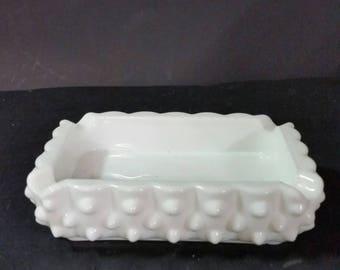 Vintage Fenton milk glass ashtray. Hobnail  with small base.
