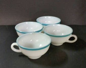 Vintage pyrex milk glass cups  White with blue. Set of 4.