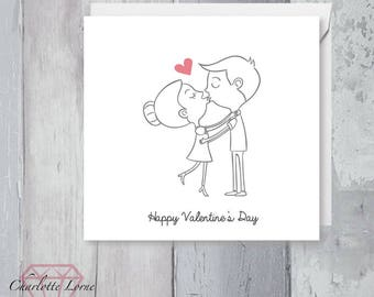 Valentines Day Couple Love Card - Couple Card - Boyfriend - Girlfriend- Printable Card - Digital Download File - Happy Valentine's Day
