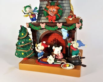 Lustre Fame Animated Musical Mistletoe Magic Mice Fireplace Festivity Working Lights and Moving Figures Fireplace Not Working Free Shipping