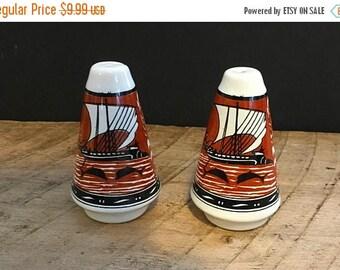 On Sale Vintage Greece Salt and Pepper Shakers Brown , Burnt Orange , Black