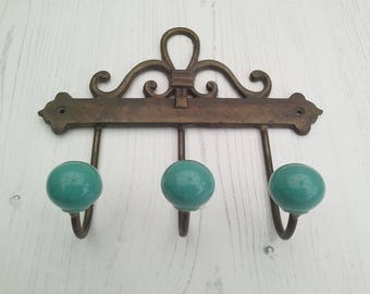 Iron Coat Hook Hat Hook or Wall Hook Set of 3 Teal Green Ceramic Coat Hook