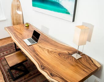SOLD | Live Edge Acacia Wood Table Top With Modern Black Steel Legs (Seats 8)
