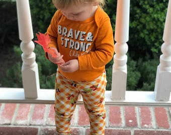 Thanksgiving kid leggings  // thanksgiving pants // scarecrow pants // holiday wear // toddler holiday