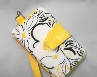 Pearl Clutch Wallet Sylish Cellphone Wristlet, Black and Yellow Outline Flowers on a White Background