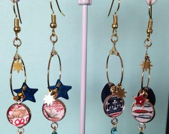 """Spray"" collection: ear-hoop earrings - dangling earrings."